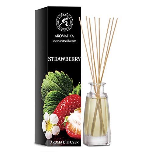 Diffusore di AROMA DELLA FRAGOLA 100 ml - Diffusore a Bastoncini - Fragranza per Ambienti - Deodorante per Ambienti - Diffusore Profumato alla Fragola - Idea Regalo