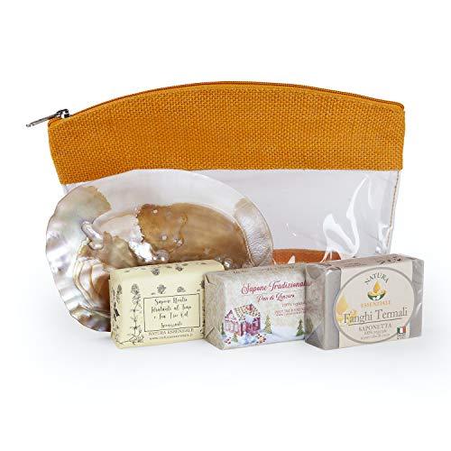 Beauty tre saponette artigianali Pan di Zenzero Timo Tea Tree Oil Fanghi termali porta sapone conchiglia naturale