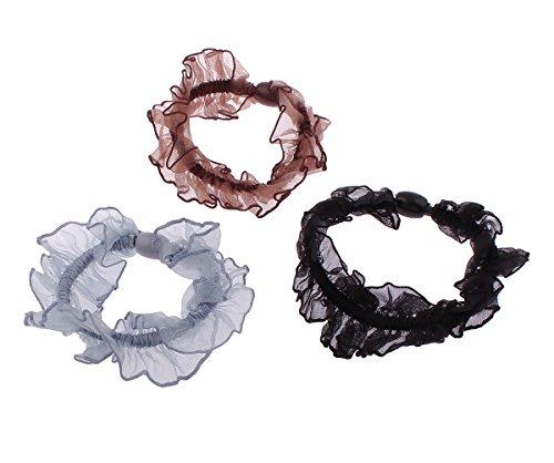 Gioielli in chiffon per capelli elastici, colori misti, 25mm, 3 pz/borsa, venduti da borsa