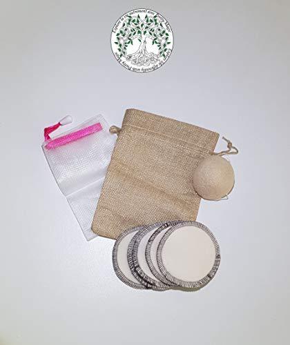 Pretty Magic - Set di 5 dischetti struccanti in cotone biologico riutilizzabile più di 300 volte una spugna Konjac 100% vegetale e naturale, con sacchetto per il lavaggio e la conservazione