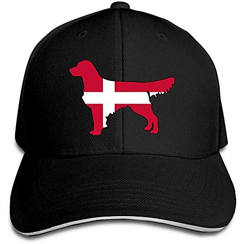 Fantasy Town Berretto da Baseball Unisex Danimarca Flag Golden Retriever Dogs Cotton Trucker Hat Cappellini Classici Regolabili Neri