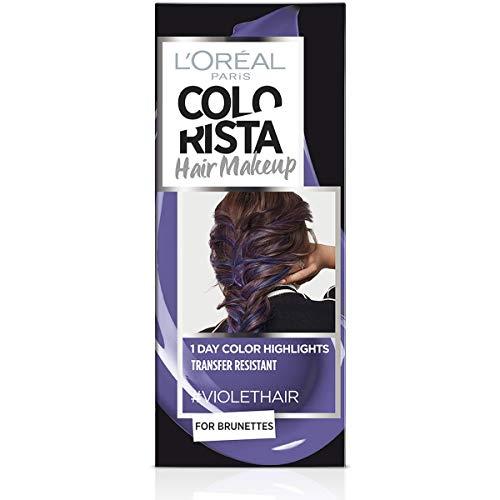 L'Oréal Paris Colorista Hair Makeup Colorazione Temporanea 1 Giorno per Ciocche e Punte, Tinta per Capelli Castani, Meches Violetto, 30 ml