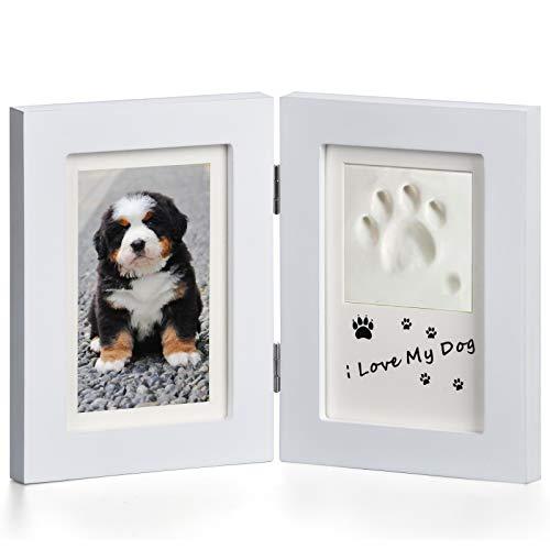 Goomis - Cornice portafoto per animali domestici e impronte di zampe, kit per foto commemorative per animali domestici, ideale per cani o gatti, colore: bianco
