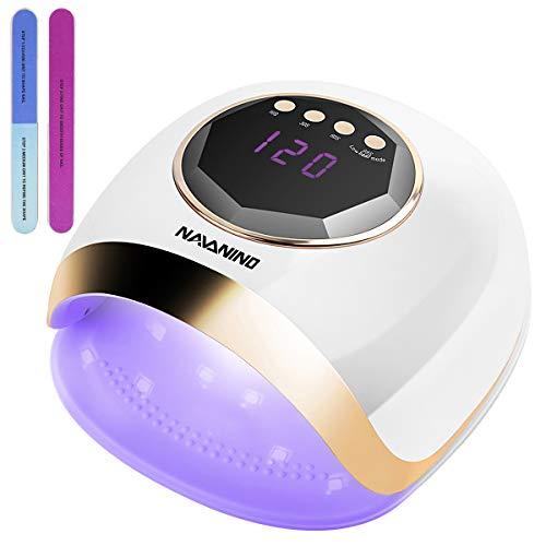 NAVANINO Lampada Unghie UV LED, Fornetto Unghie, Sensore Di Avvio Automatico, 42 UV/LED, 4 Timer (10/30/60/99s), Display LED, 54W, Lampada UV LED, Adatto Per L'uso a Casa e in Salone