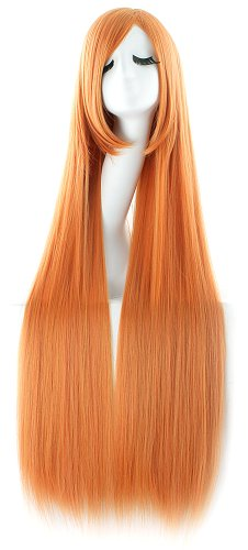 MapofBeauty 100cm/ 39 Pollice Medio Lisci Donna Lisci Parrucche (Arancione)