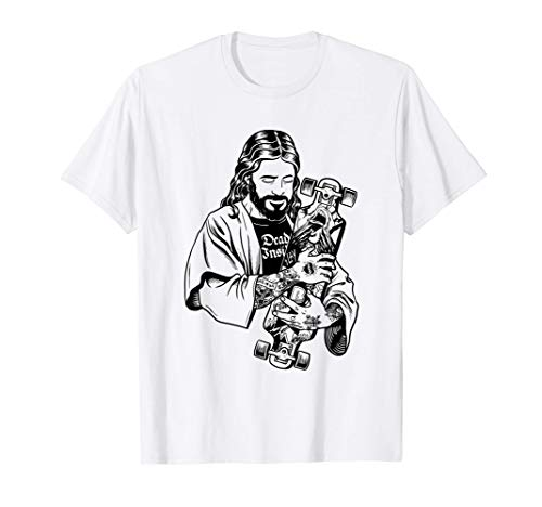 Badass Jesus Punk con i tatuaggi Loves Skateboard Antichrist Maglietta