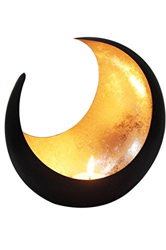 Marrakesch Orient & Mediterran Interior Lanterna portacandele Orientale in Metallo - Portacandele per Giardino - Moon Oro - trasmettere Una buona Atmosfera - Passare Un Buon Momento in Giardino