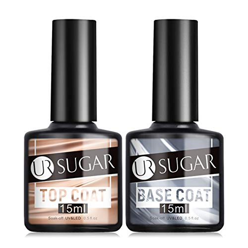 UR SUGAR 15ml Base e Top Coat Smalto Semipermanente Grande Capacità 2x15ml Ciascuno No Wipe Top Coat UV/LED Gel Unghie Pacchetto Conveniente Nail Art
