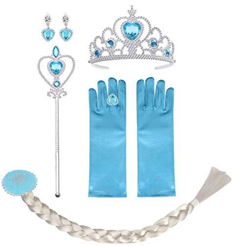 Vicloon Costumi da Principessa Set di 6 Pezzi, Set da Principessa dei Ghiacci, con Treccia,Diadema,Guanti,Bacchetta Magica