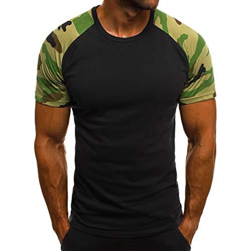 Xmiral t Shirt Uomo Divertenti Maglietta da Uomo Maniche Corte Sportivo per Bodybuilding a Palestra L Nero