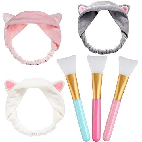 Pennello Maschera Viso e Fascia per Capelli,Applicatori Cosmetici in Silicone Senza Peli per Maschere Facciale, Spazzole Per Applicazione di Maschera, Siero o Fabbisogno Fai-da-te (3+3 pezzi)