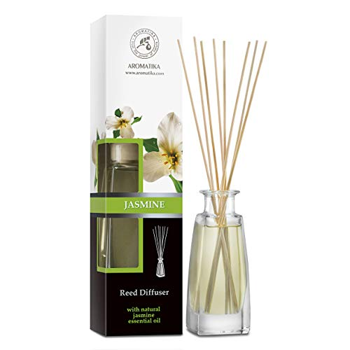 Diffusore Profumato Gelsomino 100ml con 8 Bastoncini di Bambù - Olio Essenziale Jasmine - Fragranza Intensa e Duratura - Senza Alcool - Aromatizzatore d'Aria per Interni - Aroma Diffuser