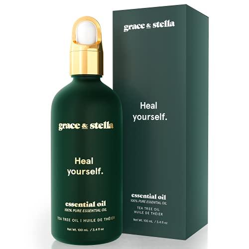 Grace & Stella olio di melaleuca puro al 100% per una pelle chiara - Vegano - Combatte l'acne, riduce i rossori, uniforma il tono della pelle (100 ml)
