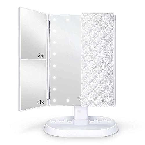 Flymiro Specchio Trucco con Luci 21 LED,Specchio Cosmetico Triplo con Ingrandimento 1x2X/3X,Rotazione 90° Ideale per Trucco, Rasatura e Lenti Contatto,Specchio Cosmetico da Tavolo (Bianco)