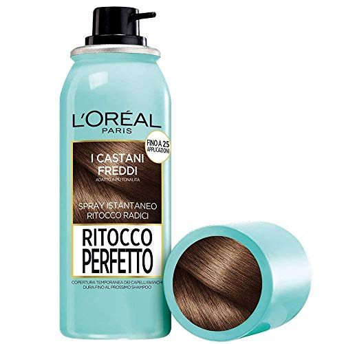 L'Oréal Paris Spray Radici Ritocco Perfetto, Colorazione Ricrescita, Copre i Capelli Bianchi e Dura 1 Shampoo, Castano Freddo, 75 ml, Confezione da 1