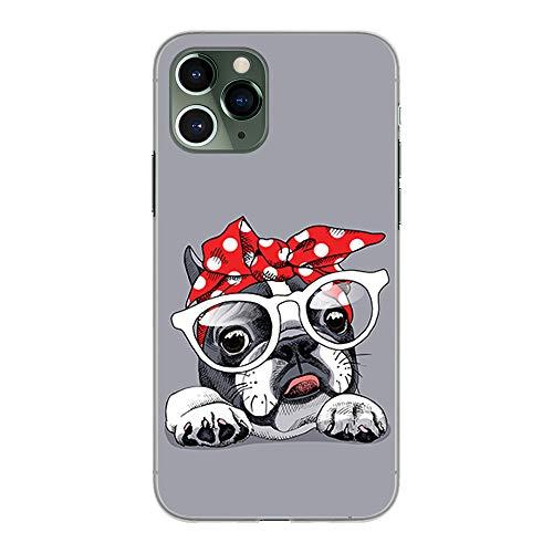 BJJ SHOP Custodia Trasparente per [ iPhone 11 PRO ], Cover in Silicone Flessibile TPU, Design: Bulldog Francese con Occhiali e Fiocco