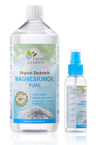 Olio di magnesio Zechstein PURO – set composto da bottiglia di soluzione salina di cloruro di magnesio da 1000ml + flacone spray per olio di magnesio da 100ml