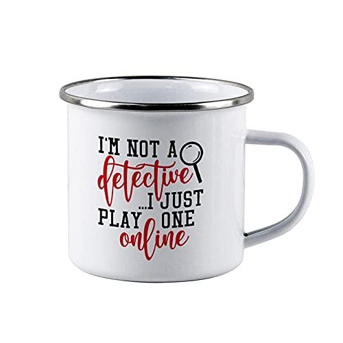 Detective Online, True Crime, Mom, Women Campfire Mug personalizzata Camper Tazza da caffè smaltata da campeggio personalizzata bianca