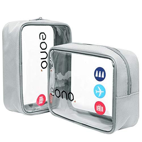 Amazon Brand - Eono Beauty Case da Viaggio Clear Borsa da Viaggio Impermeabile Cosmetici Trasparente Toiletry Bag Kit da Aereo per Liquidi Sacchetti di Trucco per Uomini e Donne - Grigio, 2-Pcs