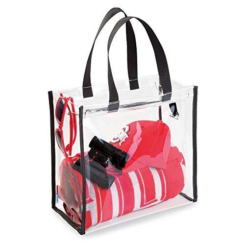 mDesign elegante beauty case da viaggio – comoda borsa da spiaggia, ideale organizer cosmetici – funzionale e versatile valigetta porta trucchi – trasparente – nero