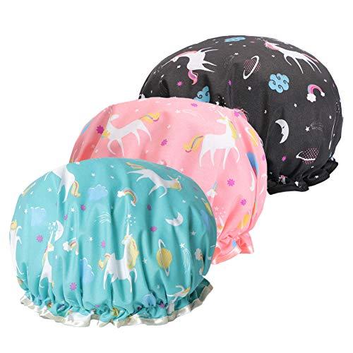 Cuffia da doccia in EVA, doppio strato impermeabile, per ragazze e donne (3 tappi per doccia con unicorno, blu, rosa, nero).