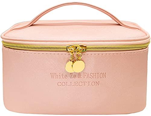 White Ze Borsa per il trucco da viaggio, borsa per il trucco impermeabile, borsa per l'organizzatore di trucco, borsa da toilette , borsa per cosmetici da donna per ragazze (rosa)