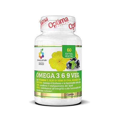 Colours of Life - Omega 3,6,9 VEG - Integratore di Omega 3, 6 e 9 - con Oli di Semi di Chia, Enotera, Girasole e Ribes Nero - Senza Glutine e Vegano, 60 Softgel Vegetali