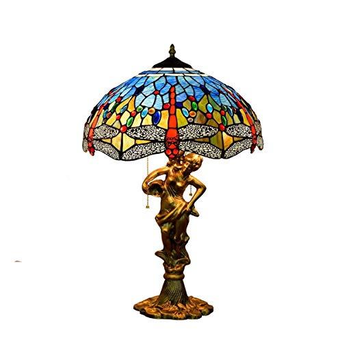 Handcrafted Unique 16 pollici Tiffany Stained Glass Table Lamp Blu europea mediterranea smalto Stained Glass Bar 'hotel soggiorno sala da pranzo camera da letto di bellezza Desk Lamp