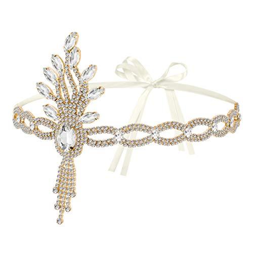 Lurrose Fascia Anni 20 Gatsby Flapper Headband Fascia Charleston con Piuma Anni 20 Fascia Capelli Gatsby per Festa a Tema Vintage Matrimonio (Dorato)