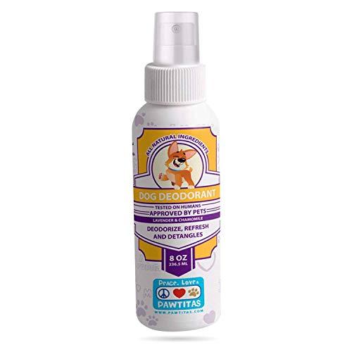 Pawtitas Spray Deodorante per Cani Ti Consente di Tenere Pulito e districato Il Pelo del Tuo Cane in Poche mosse | Profumo per Cani di Lavanda e Camomilla - 233 m
