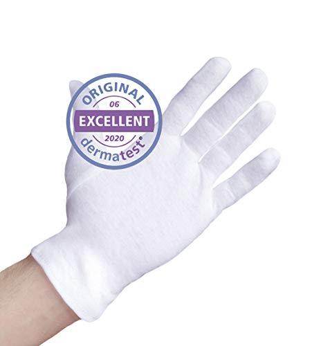 Dermatest: Eccellente - Well B4® Care Guanti di cotone, guanto in stoffa, morbidi guanti in maglia, 3 paia, bianchi, misura XL