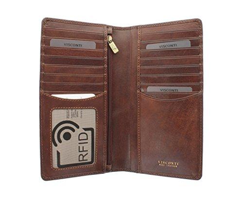 Portafoglio da Giacca in Pelle Visconti Collezione Tuscany CARRARA Protezione RFID TSC45 Abbronzatura