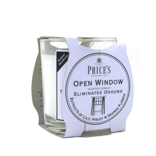 Price's Candles Freshair Candela in Vasetto Openwindow, Cera, Bianco, 7.5x7.5x8.5 cm