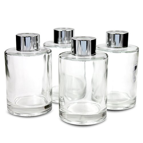 Frandy House - Diffusore di bottiglie in vetro con tappi per diffusori, set da 4 – 10,7 cm di altezza, 120 ml 115,1 g, accessori profumati, per set di diffusori fai da te di ricambio