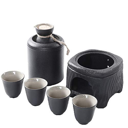 Set Regalo da Sake Professionale in Ceramica in Stile Giapponese con Set da tavola per Sake più Caldo e Premium in 7 Pezzi in Ceramica Smaltata Nera, Perfetto per l'intrattenimento