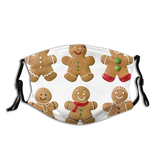 Guduss Face Co_V-ER Gingerbread,Vivid Homemade - Biscotti Sugary Xmas Treats Sweet Tasty Pastry Mouth Scarves with 2 Filter