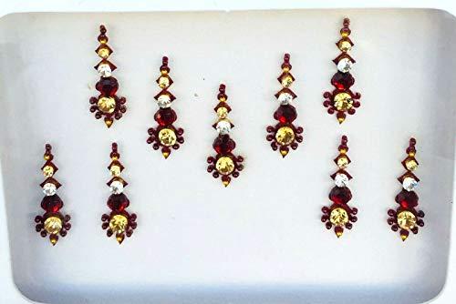 Viso arabo Fronte BB160 Bindi rosso di cristallo dell'oro perla Bindi autoadesivo del tatuaggio nozze Tikka indiano operato dal partito Gem Body Art