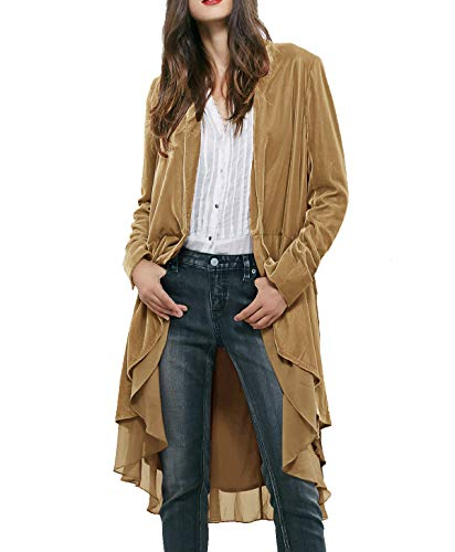 R.Vivimos Women's Velvet Ruffle Coat Slim-Fit Suit Casual Jacket Fashion Classic Swallowtail Hem (Large, Khaki)
