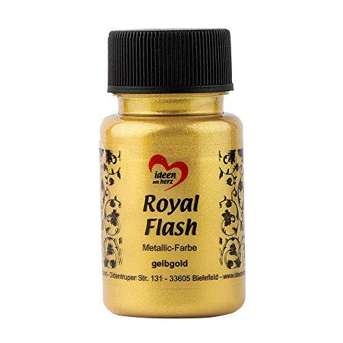 Colore acrilico metallico'Royal Flash' con riflessi metallici e particelle glitterati fini | Vernice brillante metallizzata per gagliette | 50 ml (oro giallo)