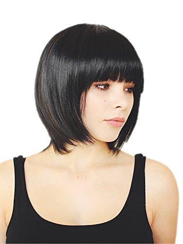 Prettyland corta caschetto BOB taglia frangia capelli veri Parrucca liscia per tutti i giorni Nero C577