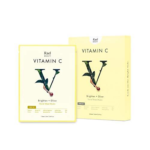Rael - Maschera per il viso Vita Bright con vitamina C (5fogli):Maschera antiossidante per illuminare, dare splendore e rifinire il viso.Perfetta per pelle opaca o con pigmentazione.