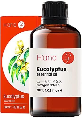 Olio essenziale di eucalipto Hana - chiari problemi respiratori, cefalea calma, 100 olio di eucalipto puro di grado terapeutico per aromaterapia e uso topico, 30 ml