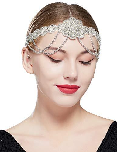 Coucoland - Cerchietto per capelli vintage anni '20, con perline di cristallo, stile vintage