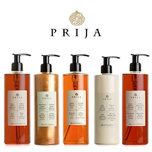 Prija XXL Set 5 x 380 ml sapone liquido, shampoo per pelle e capelli, lozione per il corpo, gel doccia