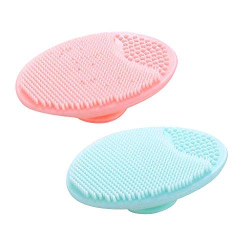 MagiDeal 2pcs Silicone Morbido Viso Pulizia Pennello Pelle Scrubber Exfoliator Massaggiatore