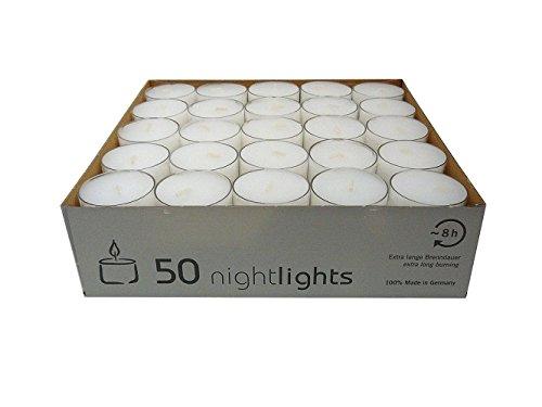 Wenzel-Kerzen 23-217-50 - UK Nightlights, Set 50 candele con contenitore in plastica, durata illuminazione: fino a 8 ore