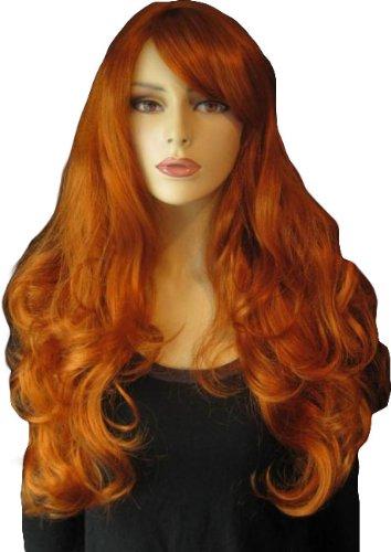 Annabelles - Parrucca da donna extra lunga, con riccioli sfusi e frangia laterale naturale, 250 g, colore: zenzero