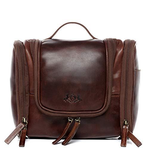 SID & VAIN® borsa toiletry vera pelle vintage DEXTER grande borsetta necessaire Toilette pochette beauty case da Viaggio uomo cuoio marrone