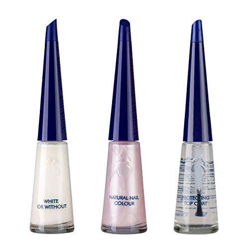 Herome Set French Manicure Glamour - 3x10ml. - Crea punte delle unghie bianche luminose e un letto ungueale rosa tenue scintillante con un tocco di perla.