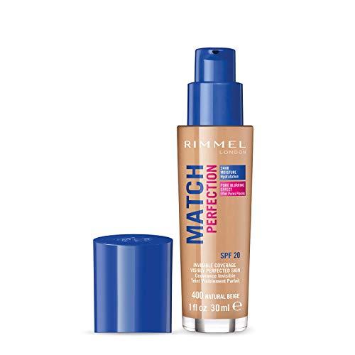 Rimmel London Match Perfection Foundation, Fondotinta Liquido a Pelle Perfetta e Levigata con SPF 20, Natural Beige, 30 ml